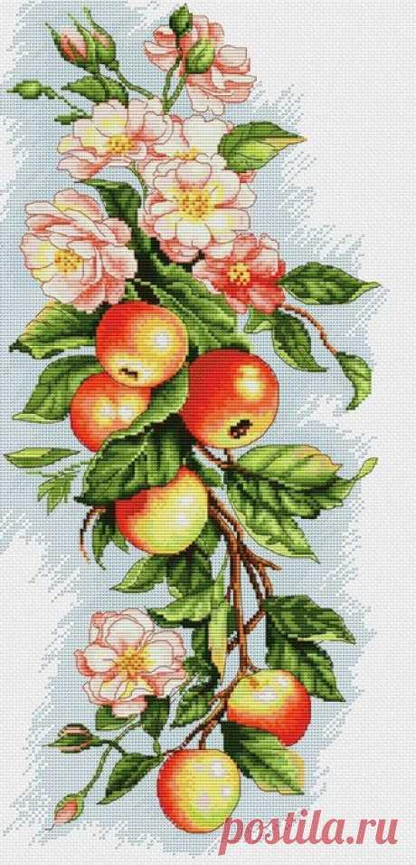 Ветка яблони. Вышивка крестом.