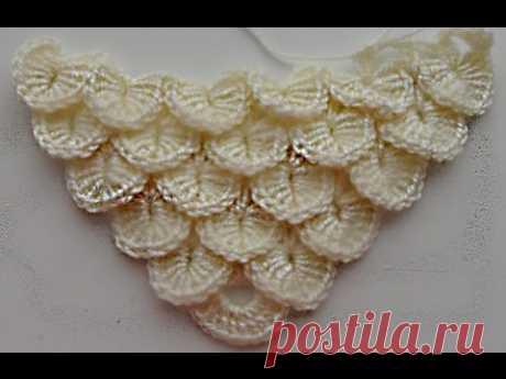 Узор для шали или бактуса  ракушка.beautiful pattern for crochet shawls (Шаль #24)