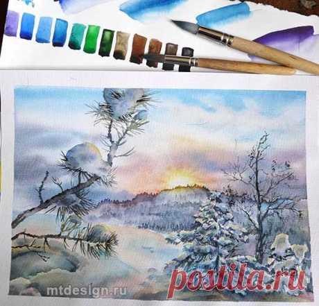 Пейзаж с зимними ёлками