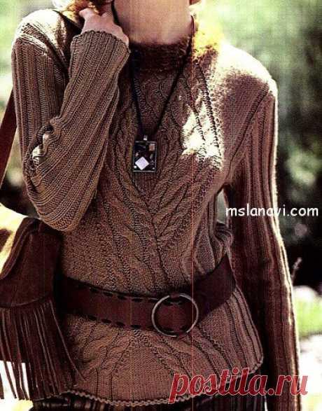 Красивый пуловер спицами с аранами | Вяжем с Лана Ви