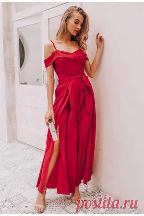 Sexy off shoulder women jumpsuit romper Elegant high waist red jumpsui - idetsnkf
