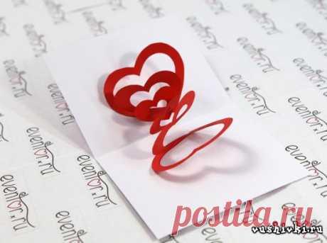 Делаем открытку на 14 февраля со спиральными сердечками