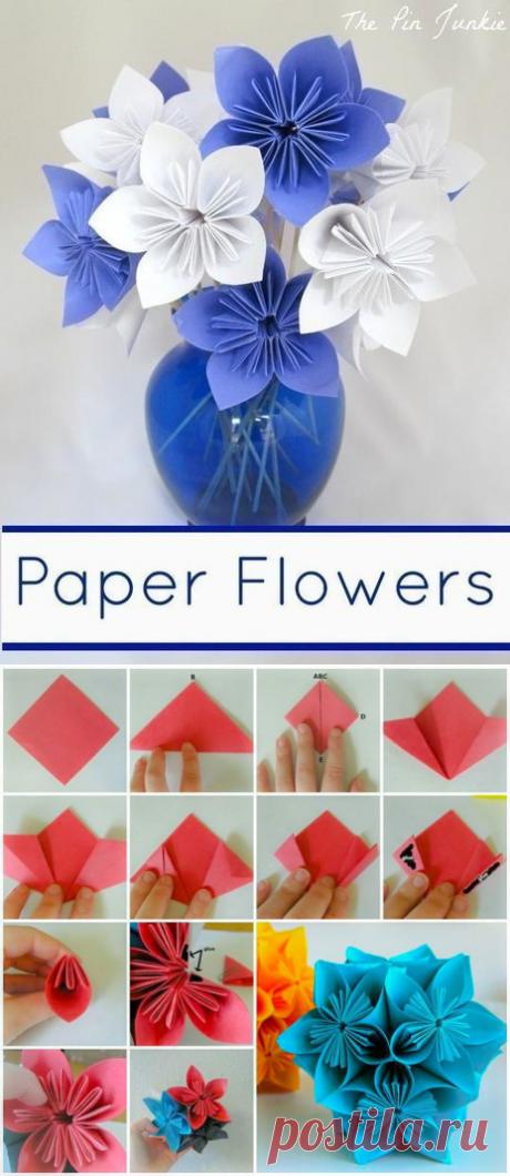 Цветы из бумаги - оригами — Сделай сам, идеи для творчества - DIY Ideas