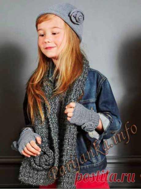 Шапка, шарф и митенки (д) 40*163 Bergere de France №3754
