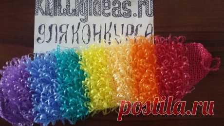 МК: Вяжем разноцветные мочалки крючком