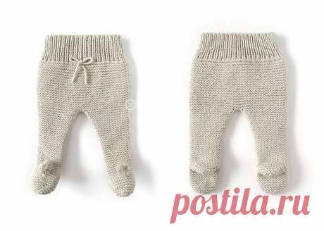 Вязаные спицами штанишки для новорожденного.