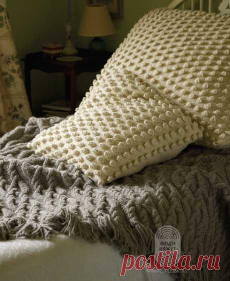 Чехол для подушки спицами схема. Схема узора с шишечками | Вязание для всей семьи
