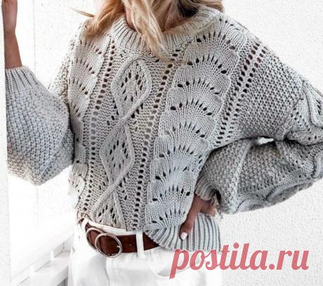 Пуловер оверсайз спицами схемы узоров