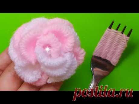 TRUCO DE BORDADO DE UNA ROSA CON UN TENEDOR- Bordado a Mano- flower embroidery