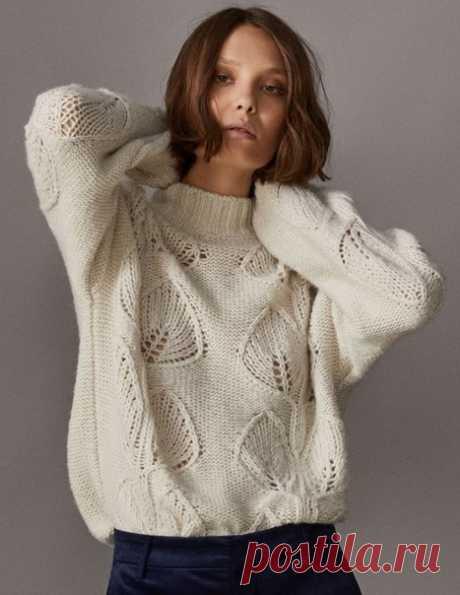 Вязание пуловера с листьями Модный вязаный пуловер из осенне-зимней коллекции 2017 года Massimo Dutti Пуловер связан узором из крупных листьев на изнаночной глади.  Пуловер с узором крупные листья фотоОригинал выполнен из смесовой пряжи в составе которой содержится 40% хлопока,33% акрила, 15% шерсти и 12% альпака.  Описание составлено для размера 44-46.  Для вязания потребуется примерно 550-600 г легкой объемной пряжи.  Плотность вязания: 12 петель и 20 рядов = 10х10 см по...