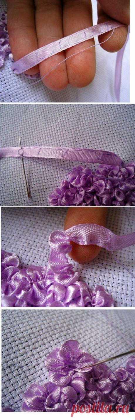Сирень из атласных лент (Вышивка лентами)   Журнал Вдохновение Рукодельницы