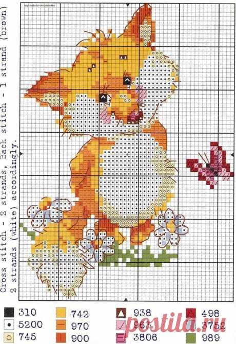 """«Схема вышивки крестом """"Лисенок с бабочкой""""» — карточка пользователя Alexeyschadneff в Яндекс.Коллекциях"""