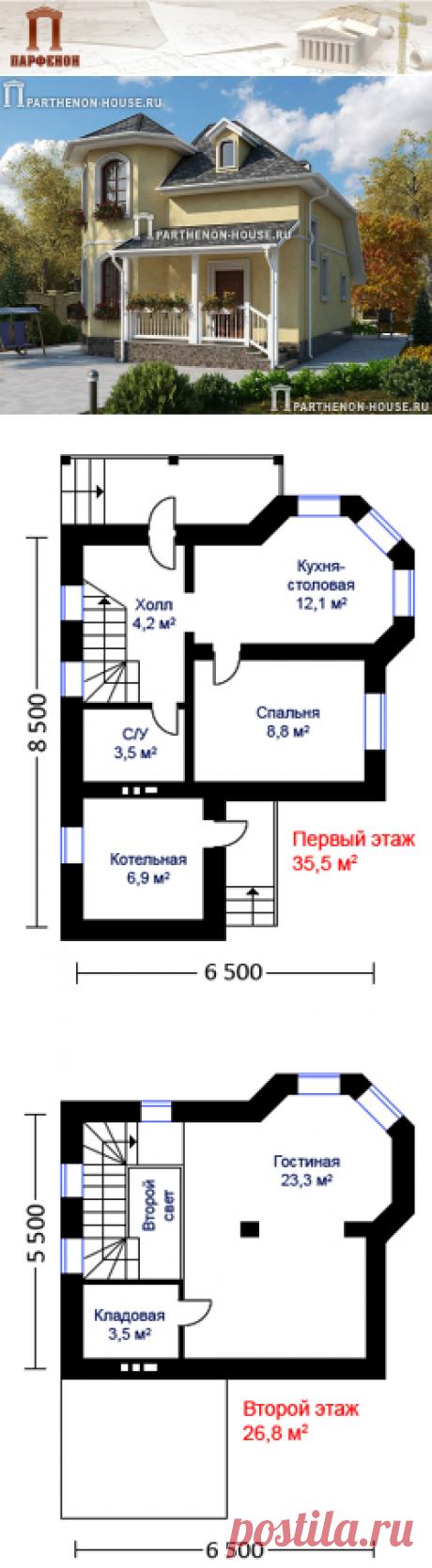 Проект небольшого стильного и комфортного дома из газобетона НД 62-2  Площадь общая: 62,20 кв.м. Высота на 1 этаже: 2,70 м. Высота в мансарде: от 1,80 м. до 2,80 м.   Технология и конструкция: строительство дома из газобетона. Фундамент: монолитный ленточный ж/б. Наружные стены: газобетонные блоки 375 мм. Междуэтажное перекрытие: по деревянным балкам. Кровля: покрытие - битумная черепица. Наружная отделка: цоколь - камень, стены - штукатурка.
