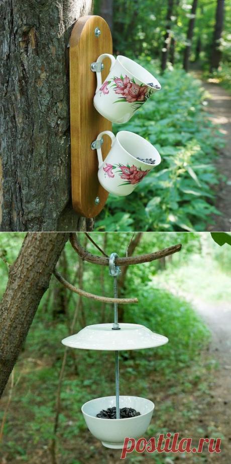 Необычные кормушки для птиц из старой посуды - 2 варианта
