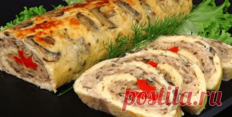 Сырный рулет с курицей и грибами - Пошаговый рецепт с фото