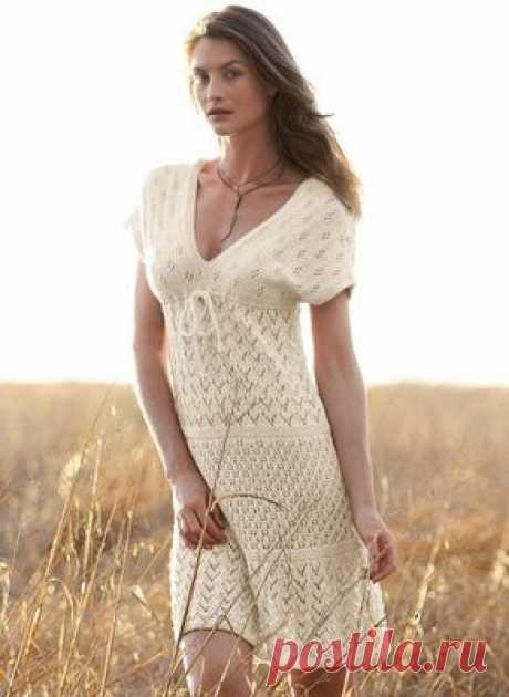 Ажурное вязаное платье спицами - Портал рукоделия и моды