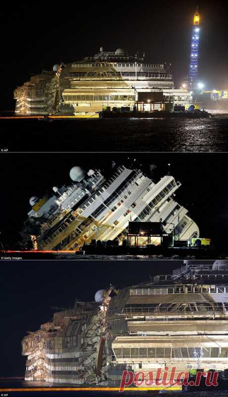 Лучшие фотографии со всего света - Подъем лайнера Costa Concordia завершен