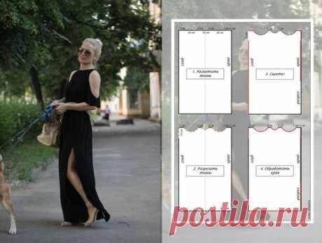 Платье за полчаса.  #платье@fashion.freak  1. Берем трикотаж, ширина стандартная 150 см.  2. Складываем пополам, размечаем как показано на рисунке, вырезаем.  3. Сшиваем как показано на рисунке.  4. Обрабатываем края (трикотажным швом, зигзагом, на коверлоке – как решите).  5. Творчский пункт:можете делать, что хотите – украсить заклепками, пустить кружево по краю, расшить бисером, сделать открытой спину и т.д.