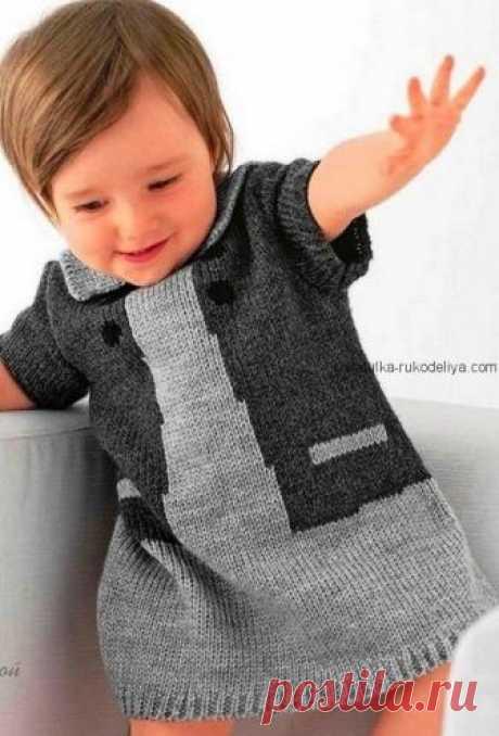 Детское платье Детское платье спицами. Теплое платьице для девочки спицами