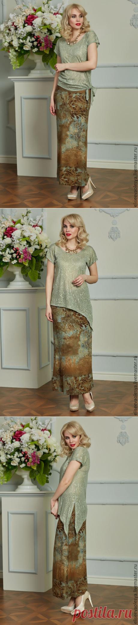 Купить Блуза с асимметричным низом 25033 - оливковый, большие размеры, женственность, женственный стиль