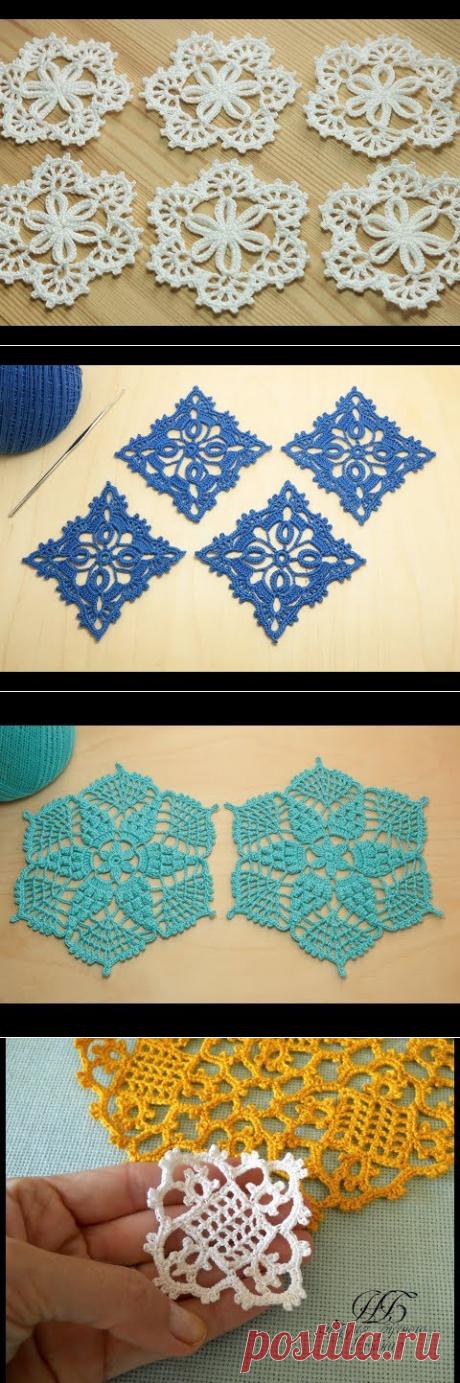 (29) Ажурный мотив крючком - мастер класс по вязанию - crochet lesson - YouTube