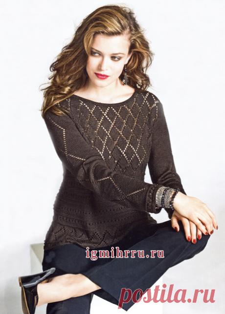 Ажурный пуловер из шёлковой пряжи спицами