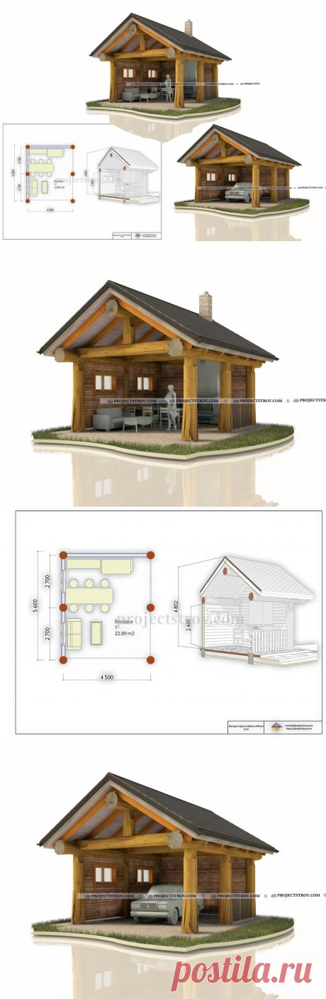 Беседка и гараж post and beam | каркасно-столбовой сруб