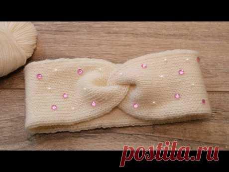 Двойная повязка спицами 💕 Double headband How to knit
