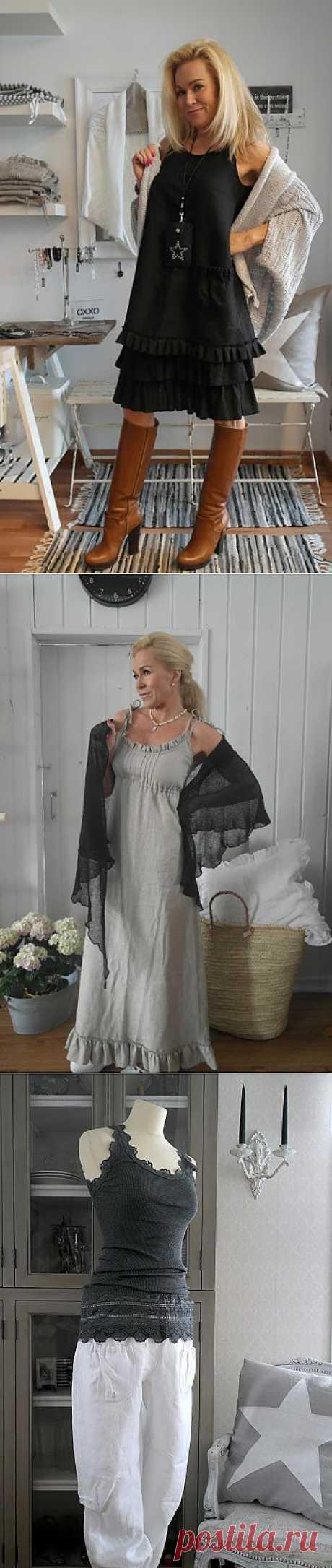 льняная одежда в стиле бохо от Olen Pia Erlund. Отличные идеи..
