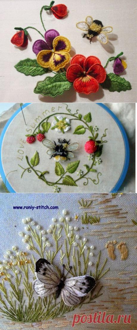 Невероятно красивая и очень реалистичная объемная вышивка, исполненная в технике свободной глади — Сделай сам, идеи для творчества - DIY Ideas