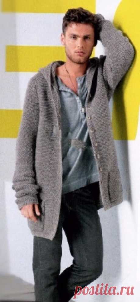 Мужской жакет с капюшоном. | Пуловер, свитер, жакет. Мужской жакет с капюшоном связать спицами платочной вязкой. Подробное описание вязания жакета с капюшоном. Выкройка мужмкого жакета.