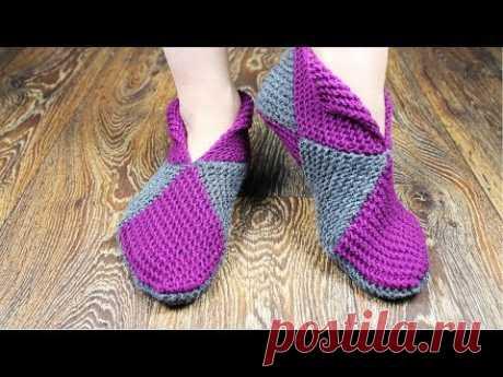 La labor de punto por los rayos. Las zapatillas simples de los cuadrados \ud83d\udd14\ud83d\udd14\ud83d\udd14