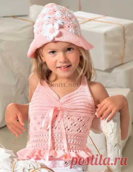 Топ и шляпка для девочки вязаный крючком комплект