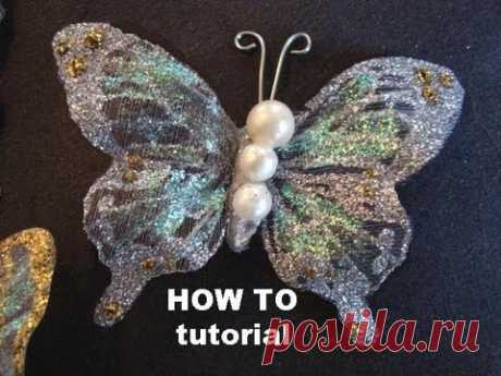 GLITTERED BUTTERFLIES ON FABRIC TUTORIAL, how to diy, embellishments, trim, hair clips, brooches