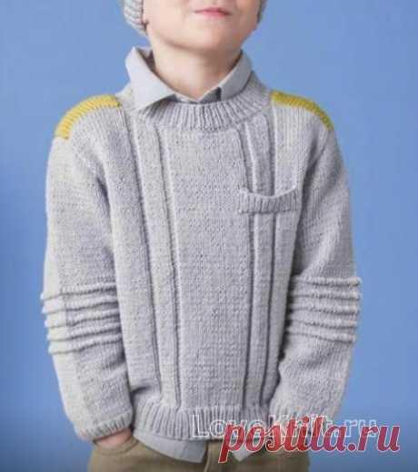 Подростковый пуловер с контрастной полосой схема » Люблю Вязать