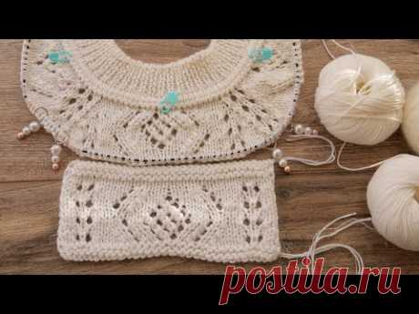 Элемент узора для французской кофточки спицами 🇲🇫 Lace element knitting pattern for French blouse