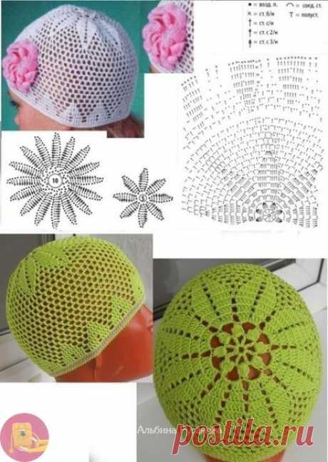 Чудесные летние шапочки крючком - солнце больше нипочем — Сделай сам, идеи для творчества - DIY Ideas