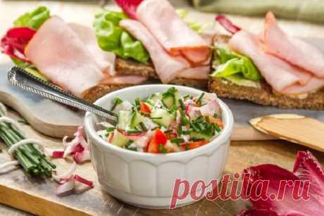 Творожный салат с овощами и бутербродами – пошаговый рецепт с фото.