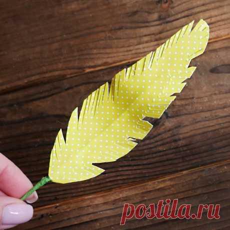 Перышко декоративное DIY МК Поделки из бумаги на Пасху Перо для декора