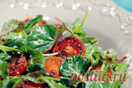 Салат с обжаренными томатами, пошаговый рецепт с фотографиями – салаты. «Еда»