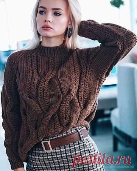 Вяжем свитер с косами — Красивое вязание