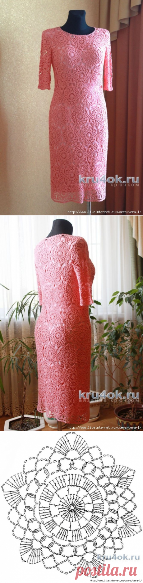 Женское платье крючком. Работа Ксюши Тихоненко