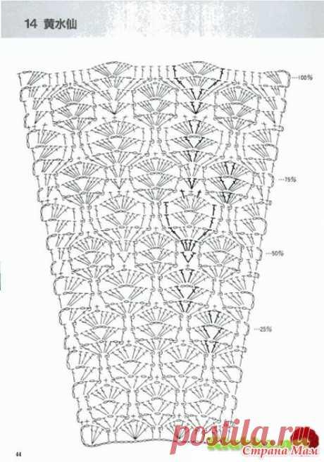 Схемы узоров для расширения полотна, для платьев, юбок и круглой кокетки (крючок) 2 - Вязание - Страна Мам