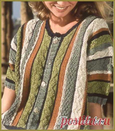 Идея для вязания жакетов. Оригинальная полоска.   Все вяжут.соm/Everyone knits.com   Яндекс Дзен