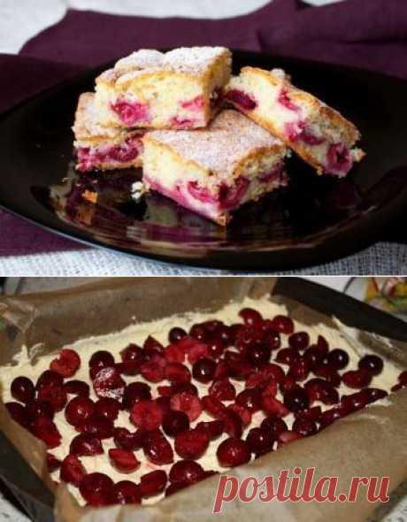 Нарезной вишневый пирог | Готовим вместе