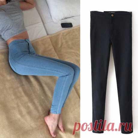 702b9a24e48 Тонкие джинсы для женщин тощий высокой талией джинсы женские синие  джинсовые узкие брюки стрейч талии джинсы