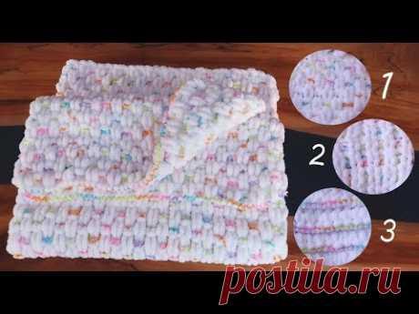 Плед без спиц! для начинающих ♡ Узоры с изнаночной петлей из ализе пуффи. Alize Puffy