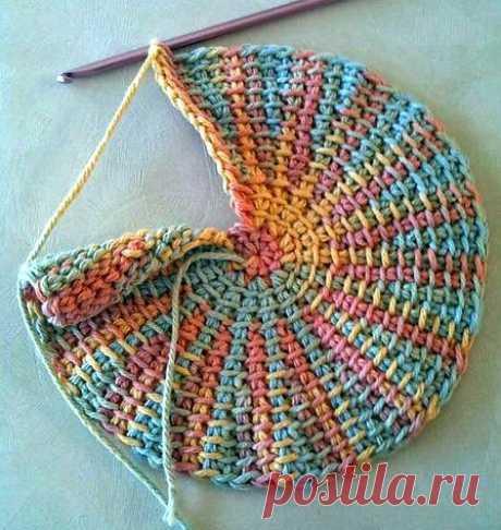 Тунисское вязание. Как вязать круг Как вязать круг тунисским крючком