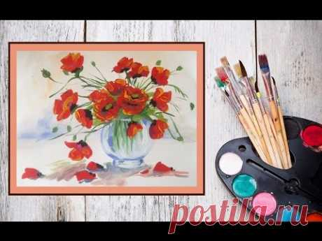 Уроки рисования! Как нарисовать маки/цветы в вазе гуашью! #Dari_Art