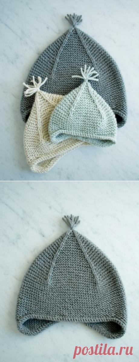 Как связать оригинальную шапку платочной вязкой спицами: описание, схема, узор, фото
